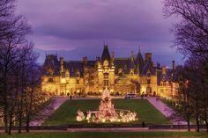 "♥ Biltmore House in Asheville, NC ... photo from the annual Christmas by Candlelight ---  Day/Night openings for the 2013-2014 Christmas Season: Day-time ~ ""Christmas at Biltmore"" (Nov. 2 - Jan. 12) ... Night-time ~ ""Christmas by Candlelight"" (Nov. 9 - Jan.4). 