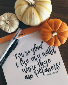 "It's been a great month, but a busy one as well. Thankful for a little peak into the ""fall"" season. Here in California we may not exactly be able to call this fall. But we still buy pumpkins and pretend it's warm enough to we Brush Lettering, Hand Lettering, Brush Pen, Fall Season, Thankful, Seasons, Caligraphy, Modern Calligraphy, Pumpkins"