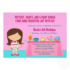 Pottery Painting Arts and Crafts Birthday Party Personalized Invites