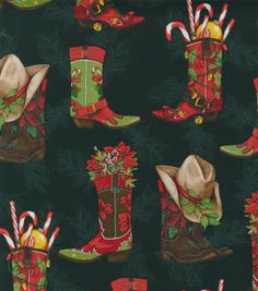 Holiday Inspirations Christmas Fabric Filled Boots
