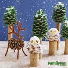 Make a Scene: Turn pinecones collected on a nature walk into a windowsill-sized wonder of snowy owls, stately reindeer, and towering evergreens.