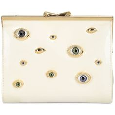INES FIGAREDO Eyes Nappa Leather Clutch - White found on Polyvore