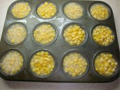 GOT CHICKENS? Emptying a few cans of corn into a muffin tray, adding water &…