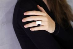Leather Statement Ring Black and White Ring White by MERCeJewelry
