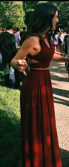2017 Gorgeous Red 2 pieces Prom Dresses Long Sexy Evening Gowns Chiffon Two Piece Formal Dress For Teens