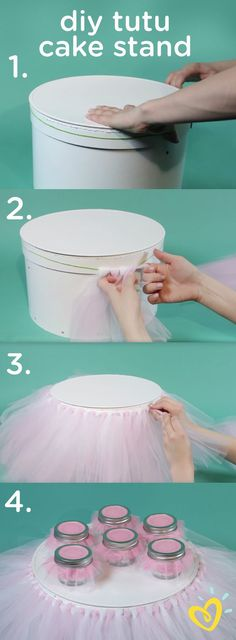 Add some pretty pink to the stand at your next party with this DIY tutu cake stand, perfect for a baby girl's princess-themed baby shower or first birthday celebration. This video tutorial will show you how to create this look in just a few simple steps Diy Tutu, Tulle Tutu, Shower Party, Baby Shower Parties, Baby Shower Themes, Shower Ideas, Baby Shower Cake For Girls, Baby Girl Shower Decorations, First Birthday Decorations Girl