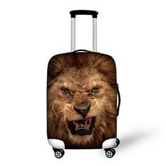 Leopard Lion Monkey Horse Dinosaur Face Travel Protective Luggage Covesr for 18-30 InchTrunk Case Trolley Suitcase With Zipper