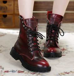 Color:red.black.dark brown.Sizen here:4.5 B(M) US Women/3 D(M) US Men = EU size 35 = Shoes length 225mm Fit foot length 225mm/8.8in 5.5 B(M) US Women/4 D(M) US Fashion punk martin boots