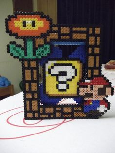Super Mario Photo Frame perler beads