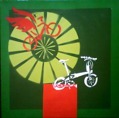 Stencil bike fly e Dahon sobre tela. 80x80cm, 2011
