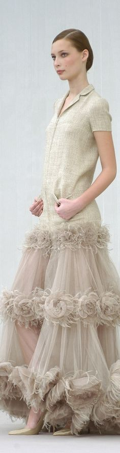 Chanel ~ Couture Nude Maxi Dress w Sheer Embellished Skirt, Summer 2005