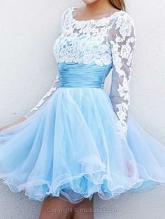 A-line Scoop Tulle Satin Short/Mini Lace Homecoming Dresses #02051626