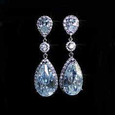 Gorgeous Handmade CZ Teardrop Dangle Bridal Earrings (Sparkle-2149-U) #Handmade