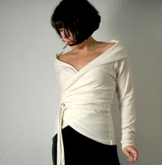 womens felted merino wool wrap sweater  natural by sandmaiden, $115.00