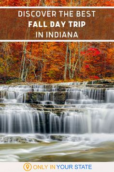 Head to Lieber State Recreation Area in Owen County, Indiana and you'll find the beautiful Cataract Falls! The perfect place for an autumn day trip, visitors will enjoy colorful foliage, covered bridges, creeks, lakes, and loads of natural beauty. It's a great day trip for families and photographers alike. Add it to your fall bucket list!