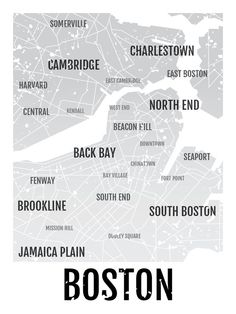 Boston Print - Neighborhood City Map - Subway Poster, Boyfriend Gift, Husband Gift, Wall Art, Illustration, Design Decor - White/Black