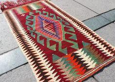 Small Kilim Rug bath mat Doormat 3x2 Turkish Kilim rug handmade cheap rug joyful color Vintage Mat,Handmade Mat 3'6'' x 2'  / 109 cm x 61 cm