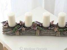 Adventskranz - Adventsgesteck Adventskranz Tischdeko Gesteck - ein Designerstück von Meissner-Floristik bei DaWanda