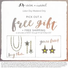 This weekend only, get a FREE gift + FREE shipping when you send $100+!