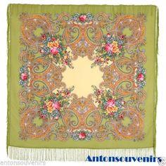 "Russian Pavlovo Posad shawl scarf 125 x 125cm(49x49"")  100% wool, 100% silk fringe   Artist: Elena Favoritova  Design 1685-10 #russian #russianshawl #pavlovoposad #shawls #fashion #russianscarf #scarf"