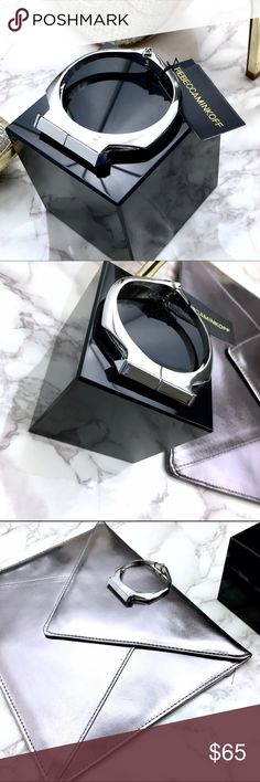 Rebecca Minkoff Silver Cuff Simple minimalistic Rebecca Minkoff silver cuff with tags. This bracelet has magnet closures and hinge opening. Beautiful minimalist piece. It is meant for small wrist because it fits me pretty close. Rebecca Minkoff Jewelry Bracelets
