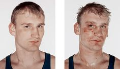 '141 boxers' by danish visual artist and photographer nicolai howalt is a series of diptychs portraying boxers before and after their fight. ranging from young boys to women,