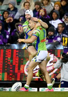 Jarrod Croker and Nikola Cotric of the Raiders celebrate a try by Cotric during the round 20 NRL match between the Canberra Raiders and the Melbourne Storm at GIO Stadium on July 22, 2017 in Canberra, Australia.