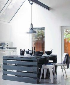 This is pretty cool! Love it with the cast iron and black dishes  Kitchen Island made from old timber pallets. Depending on the condition of the pallets, this would look good without a lick of paint. However the deep blue in a white kitchen looks very fresh and modern.