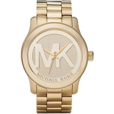 Michael Kors Logo Watch ($260) ❤ liked on Polyvore featuring jewelry, watches, accessories, michael kors, michael kors jewelry, michael kors watches, logo jewelry and golden jewelry