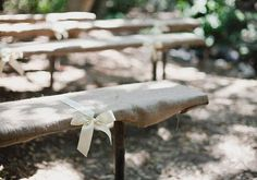 Burlap covered benches - some good decorating ideas