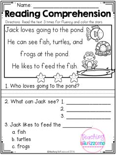 First Grade Reading Comprehension, Reading Comprehension Worksheets, Reading Fluency, Reading Intervention, Sequencing Worksheets, Preschool Writing, Kindergarten Reading, Reading Activities, English Grammar For Kids