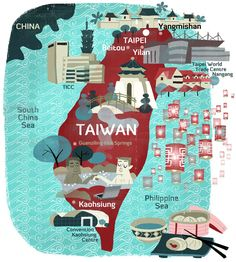 An illustrated map of Taiwan by Luciano Lozano