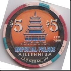 This chip was issued by the Imperial Palace Casino in Las Vegas to commemorate the new millennium in 2000.  This is a limited edition chip, 7500 were issued.