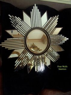 art deco mirrors | ART DECO AGED GLASS SUN BURST STAR WALL MIRROR BEVELLED | Four Walls ...