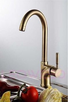 Monobloc-Single-Lever-Brush-Brass-Kitchen-Tap-Mixer-Faucet-7076-Free-UK-Delivery