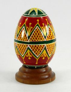 Polish Pysanky Egg Hand Painted Decorated Vintage Easter Blown Out Chicken Egg 20712 by JacksonsMarket on Etsy