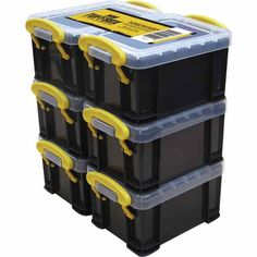 Multipurpose storage box with clip on lid. Great for storing small items in the home and garage. Clear lid allows contents to be visible. H: W: D: Made in China Plastic Box Storage, Storage Boxes, Storage Shelves, Storage Organization, Shelving, 6 Pack, Decluttering, Mudroom, Contents