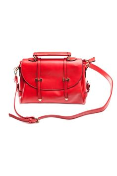 red leather satchel <3