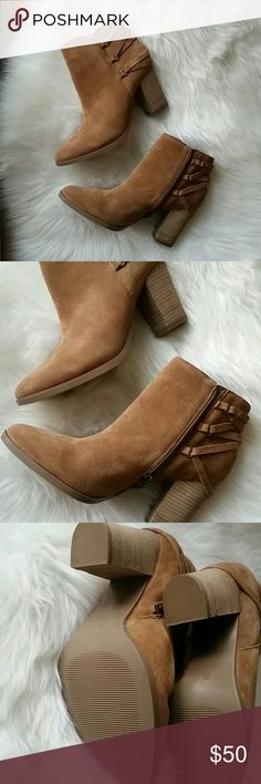 Michael Shannon booties Heel is JUST under 3 1/2 inches. These are brand new, never been worn!! Super comfy and cushiony inside. Michael Shannon Shoes Ankle Boots & Booties