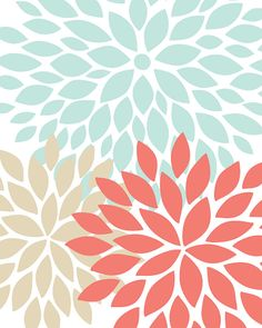 Modern Abstract Flower Bursts Art Print Set of 3 by 7WondersDesign