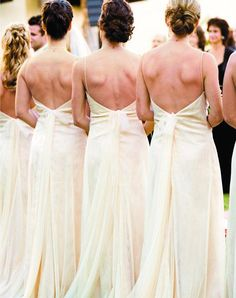 Your Bridesmaids  It's a given that you'll get shots of your bridesmaids from the front. But a shot from the other direction as they watch you exchange vows gives your ceremony even more dimension (and captures the detail on their dresses!).    Read more: Wedding Photography: 50 Wedding Photos You Can't Do Without!TheKnot.com - http://wedding.theknot.com/wedding-planning/wedding-photography-videography/articles/50-wedding-photos-you-cant-do-without.aspx?page=2#ixzz2EMSfVCLs