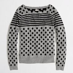 J.Crew Factory - Factory warmspun intarsia stripe-dot sweater in navy
