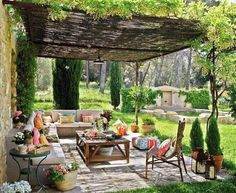 Outdoor living room under a pergola