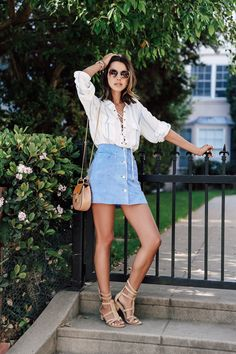 Summer outfit idea, pair a lace up blouse with a button front mini and gladiator sandals