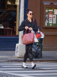 Brooke Shields made sure to flaunt the fruits of her labour as she slipped into some skintight gym gear while running errands in New York City on Thursday