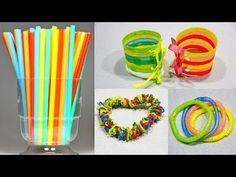 DIY БРАСЛЕТЫ СВОИМИ РУКАМИ из ТРУБОЧЕК✸Готовимся к Лету✸УКРАШЕНИЯ своими руками✸На Бюджете Bracelets - YouTube Straw Crafts, Plastic Bottle Art, Ideas Para Fiestas, Recycled Crafts, Straws, Diy Videos, New Art, Diy Jewelry, Crafts For Kids