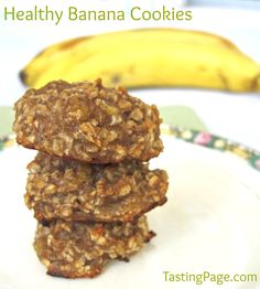 Healthy banana cookies - no refined sugar, flour or eggs so great for a snack or breakfast