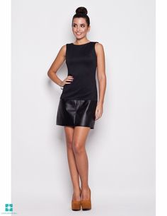 Look at this Katrus Black Faux Leather Panel Sheath Dress on today! Going Out Dresses, Dresses For Work, Black Faux Leather Dress, Leather Jacket, Shift Dresses, Mini Dresses, Hot Outfits, Embellished Dress, Sheath Dress