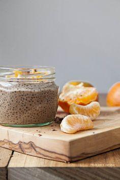 PUDIN DE CHIA Y CHOCOLATE CON MANDARINA genuinus Chocolate, Sin Gluten, Stevia, Quinoa, Panna Cotta, Healthy Eating, Nutrition, Favorite Recipes, Meals