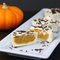 White Chocolate Pumpkin Pie Cups - you can also link up to a 'biggy' post full of Pumpkin Recipes (including Home Made Pumpkin Pie Filling)and fun and festive things to do at Halloween